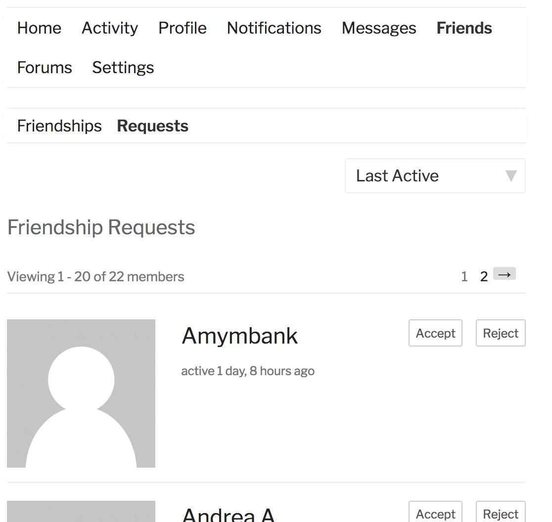Friendship Request page