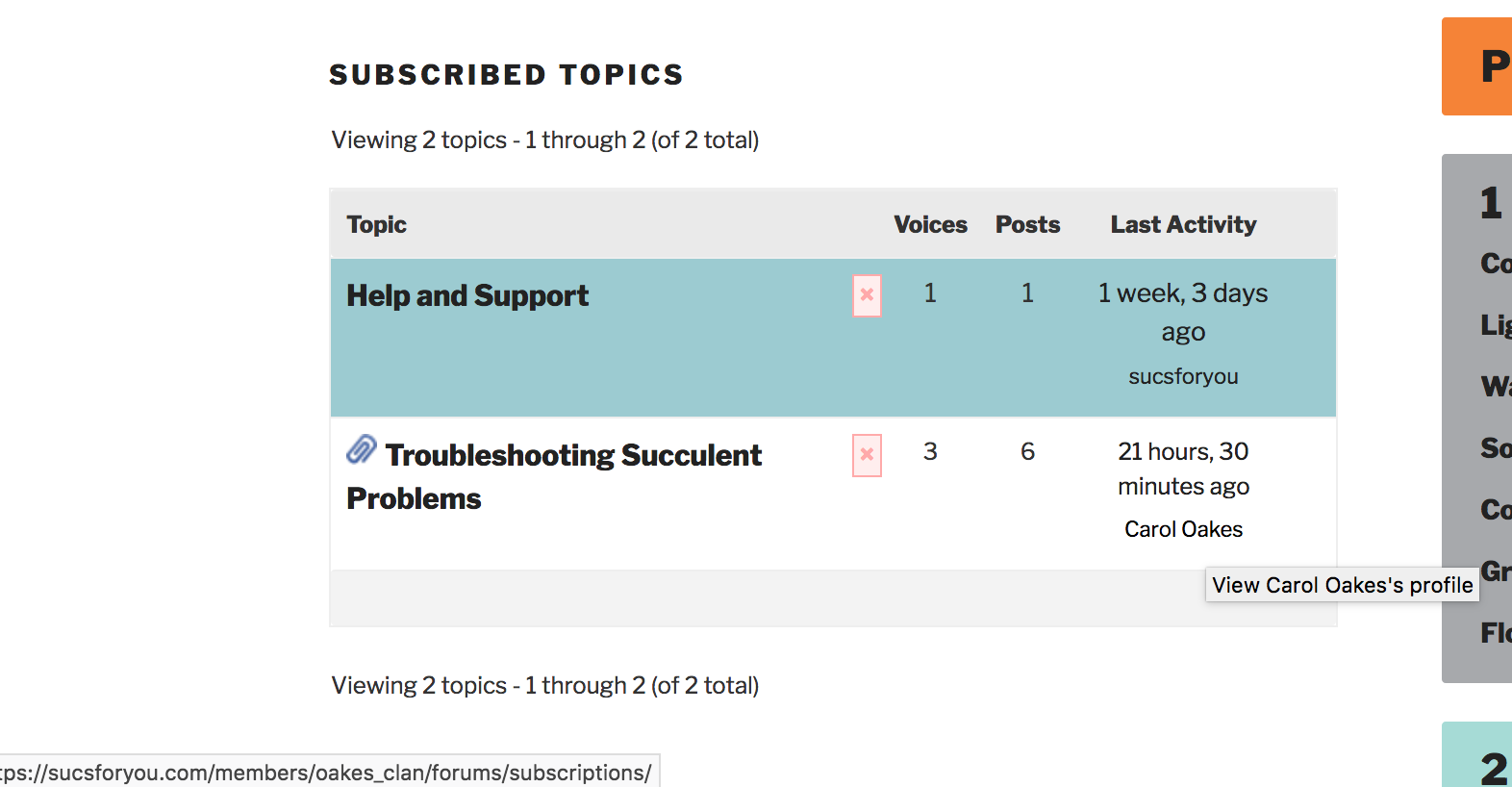 Subscription tab latest activity author adds /forums/subscriptions/ to 'view profile' url
